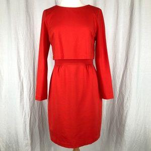 Trina Turk Long Sleeve Red Career Shift Dress